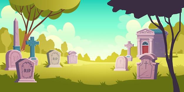 Кладбище дневной пейзаж