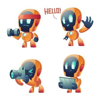 Милый чат бот мультфильм, разговор робот