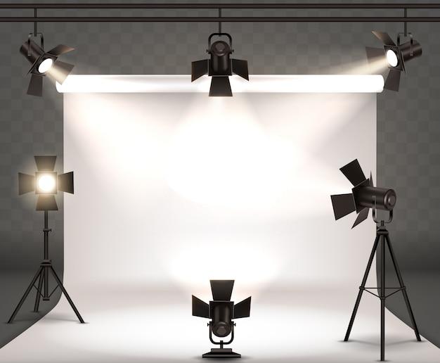 Прожекторы реалистичные иллюстрации с теплым светом