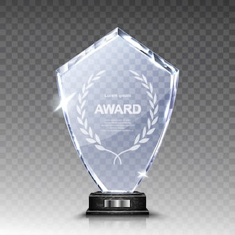 Стеклянный трофей или акриловый приз победителя реалистичный