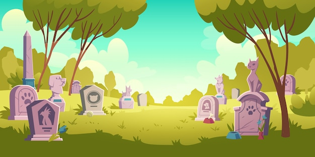 Пейзаж кладбище домашних животных, надгробная плита с след