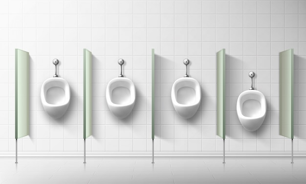 公衆トイレの男性と男の子用のセラミック便器