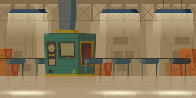 工場の製造室、工場のコンベアベルト