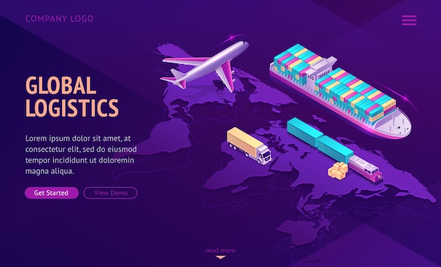 Глобальная транспортная логистика, компания по доставке.