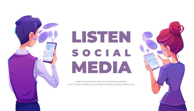 Люди слушают социальные медиа, используя баннер смартфона