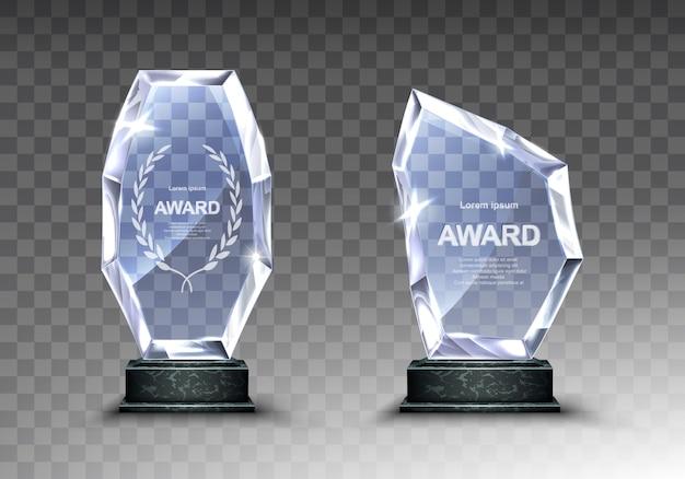 ガラストロフィーまたはアクリル受賞者のリアルな賞