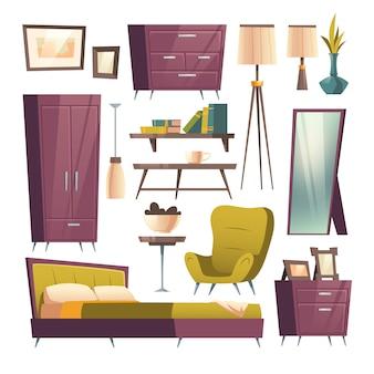 部屋のインテリアの寝室の家具漫画セット