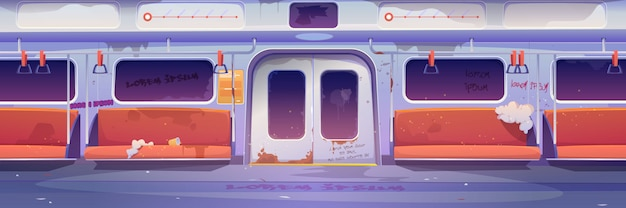 Метро в пустом метро, интерьер с граффити