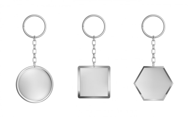 キーチェーンセット。金属製の円形、正方形、六角形