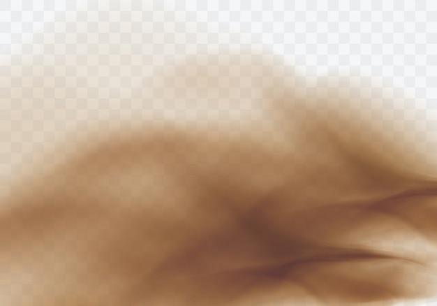 砂漠の砂嵐、茶色の埃っぽい雲の透明な背景