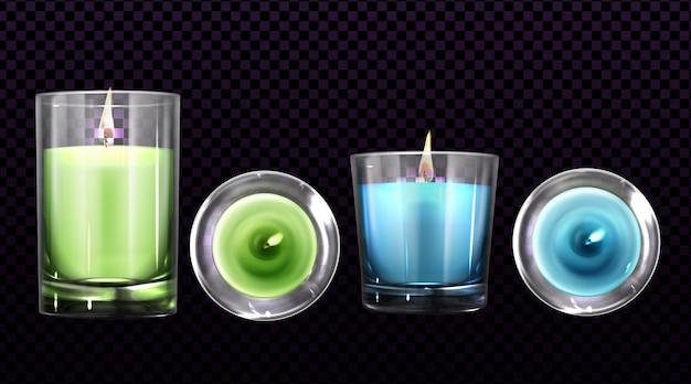 Горящие свечи в стеклянных банках спереди и вид сверху