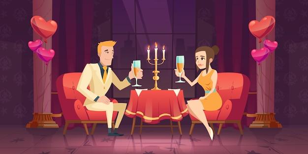 レストランで男性女性カップルロマンチックなデート。