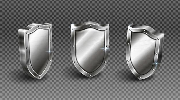 金属フレーム中世の騎士の弾薬と木製シールド