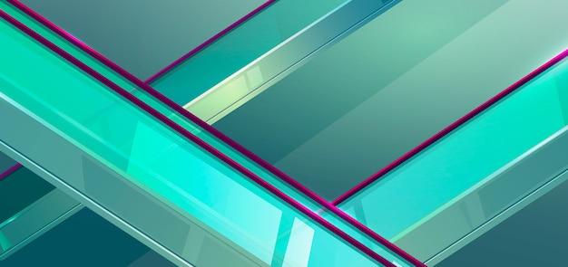 透明なガラスの手すりを備えたモール内のエスカレーター
