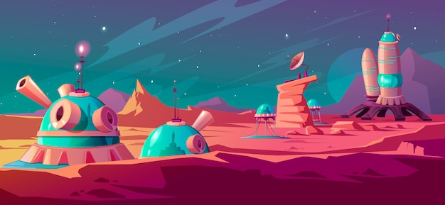 植民地の建物と火星表面の風景
