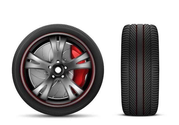 Колесо спортивного автомобиля с красным тормозным механизмом