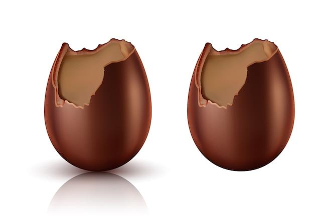 Шоколадное яйцо целое и укушенный реалистичный вектор