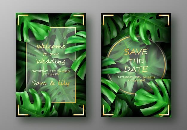 Тропические ярко-зеленые листья монстера