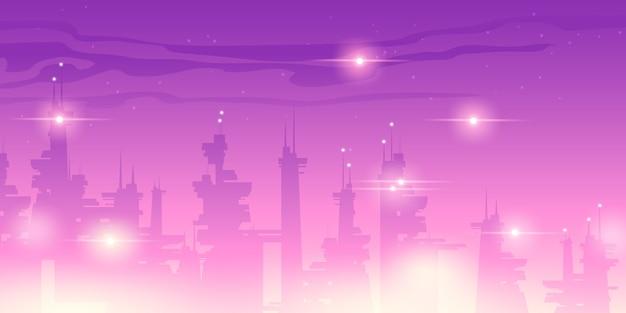Ночной город будущего с футуристическими небоскребами
