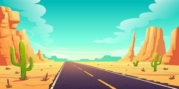 Пустынный ландшафт с дорогой, кактусами и скалами