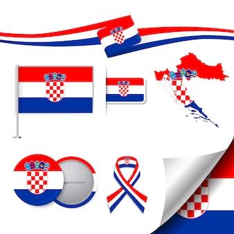 クロアチアデザインの旗のステーショナリー要素コレクション