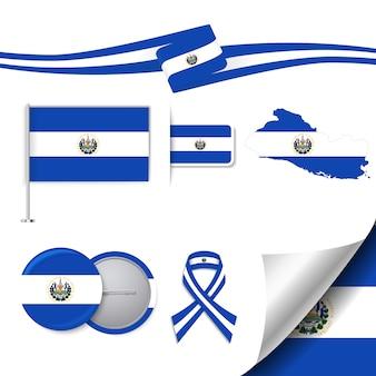 エルサルバドルデザインの旗のステーショナリー要素コレクション