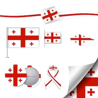 ジョージアデザインの旗を使ったステーショナリー要素コレクション