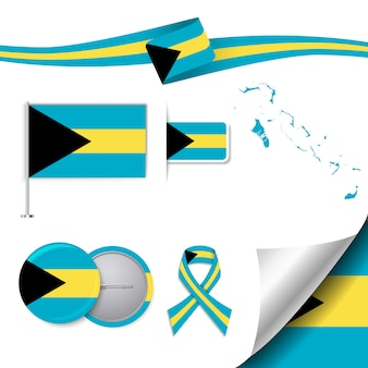 Коллекция канцелярских элементов с флагом дизайна бахамы