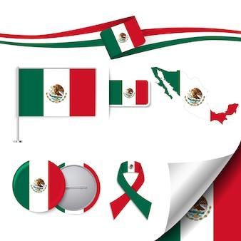 メキシコデザインの旗が付いたステーショナリー要素コレクション