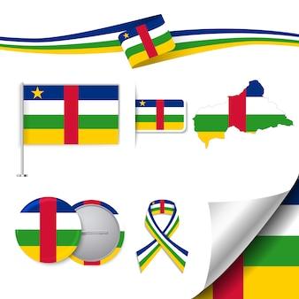 中央アフリカの共和国のデザインの旗のステーショナリー要素のコレクション