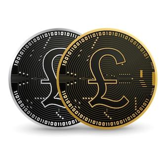 デジタル英国ポンドブラックゴールドコイン