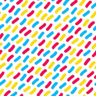 ベクターのシームレスな多色紙吹雪手描きの線パターン