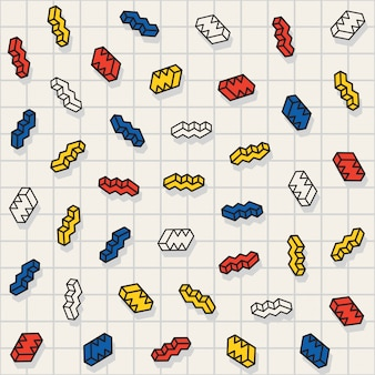 ベクターのシームレスな多色散在ジグザグ図形パターン