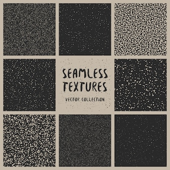 シームレスな黒と白のベクトルパターンコレクション