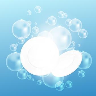 青色の背景に泡とテクスチャ水