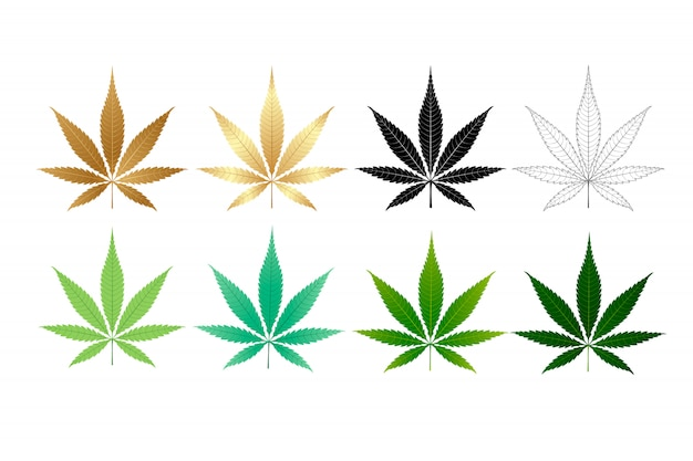 Векторная коллекция листьев марихуаны