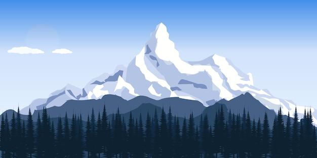 平らな冬の山の丘の風景