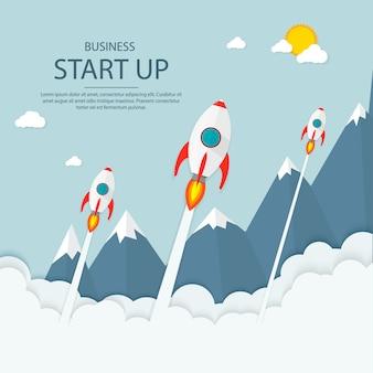 Запускать. доход и успех. бизнес инфографика.