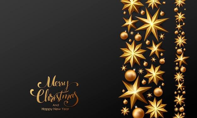 金色の星とビーズで飾られたメリークリスマスレタリング。