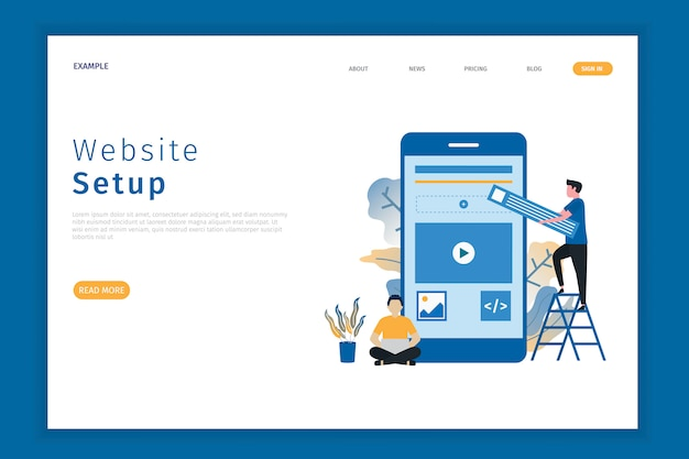ウェブサイトのセットアップ図のランディングページ