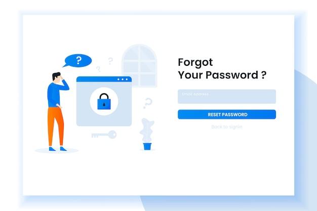 ランディングページのイラストデザインの人々が彼女のパスワードを忘れた