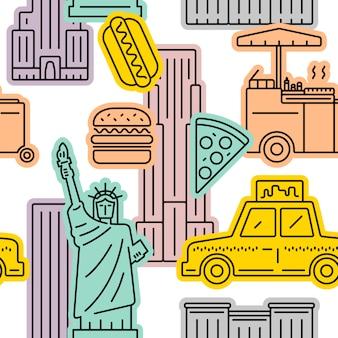 ニューヨーク市のシンボルのシームレスパターン