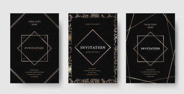 ビンテージダイヤモンドフレームブラックとゴールドの高級招待状のセット