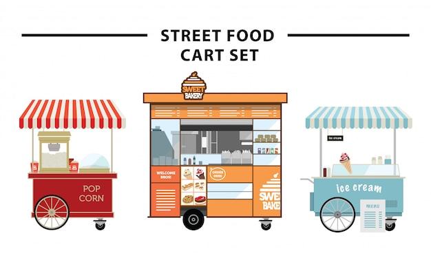 Уличная еда корзина векторный набор