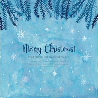 Акварельный синий рождественский фон