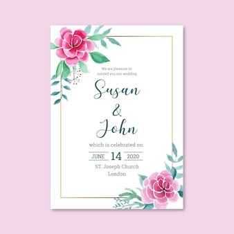 花の招待状と金枠