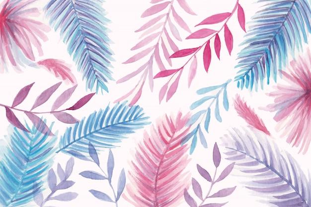 美しい水彩画の葉の背景