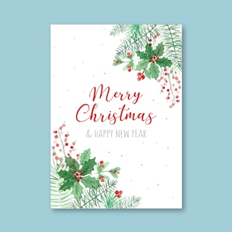 Шаблон акварель плакат на рождество