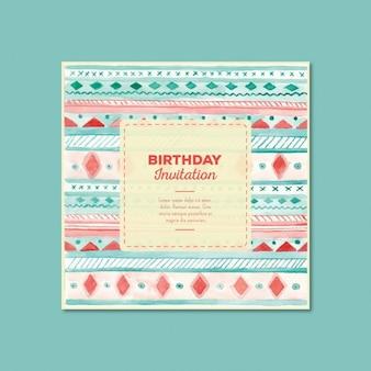 Акварель приглашение на день рождения