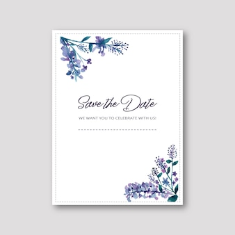 水彩フラワー付きの結婚式招待状